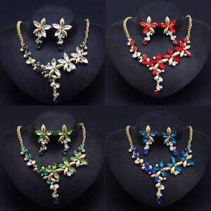 Woman-Statement-Bib-Chain-Crystal-Flowers-Chunky-Choker-Pendant-Necklace-Charm
