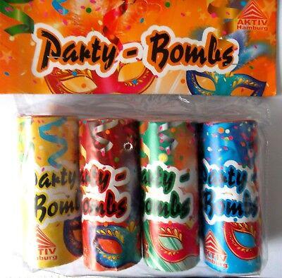 4 Tischfeuerwerk Party Spass mit  Luftschlangen Partyknaller Tischbombe