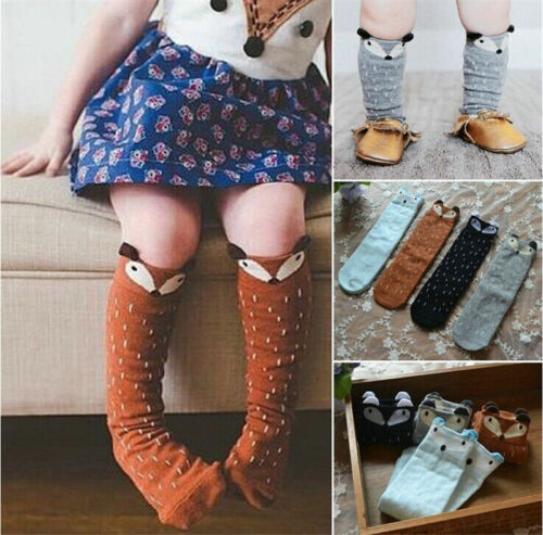 Korean Style Toddlers Kids Girls Fox Pattern Knee High Socks For Age 0-6 Years L