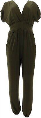 Nina Leonard Miracle Matte Jersey Jogger-leg Jumpsuit Dark Olive M New 644-489 Elegant And Sturdy Package