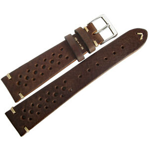 19mm-Mens-Fluco-Hunter-Racing-Rally-Brown-German-Made-Leather-Watch-Band-Strap