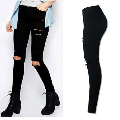 Women High Waist Denim Ripped Knee Cut Pant Stretch Jeans Pencil Trousers XL