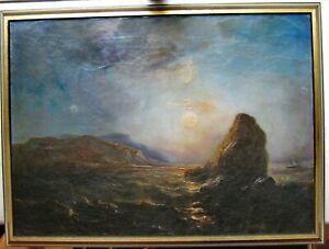J-A-GUDIN-1802-1880-GEMALDE-034-Dreimaster-an-felsiger-Kueste-034-Attributed