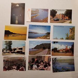 VINTAGE-WINONA-MINNESOTA-MISSISSIPPI-RIVER-BARGE-BLUFFS-POSTCARDS-WINONA-STATE-U