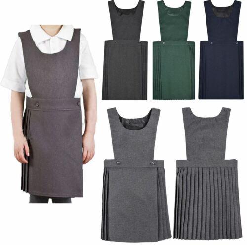 Girls Pleated Pinafore Dress Kids Black Grey Navy Green All Sizes School Uniform