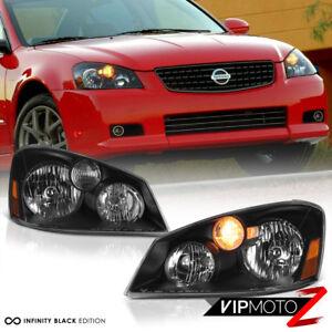 For 2005 2006 Nissan Altima Base S SE SL Sedan Black Front Headlights Headlamps