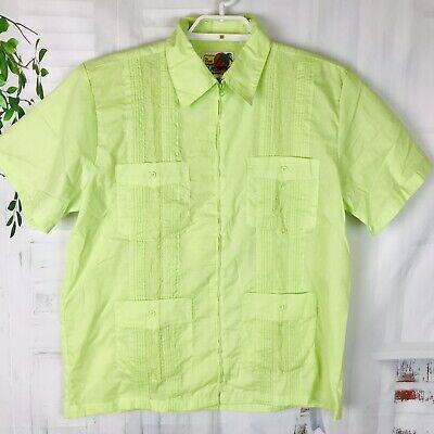 Vintage Shirt Guayabera Green Blue Embroidered Men/'s M 80s