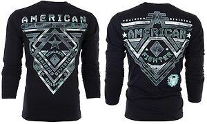 AMERICAN-FIGHTER-Men-LONG-SLEEVE-T-Shirt-CROSSROADS-Athletic-BLACK-Biker-UFC-54