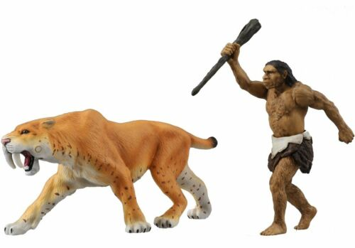 TAKARA TOMY Ania Animal AL-10 Saber Tiger with Neanderthal man Figure Japan