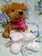 Baby Booties Girl 0-3 Mo White Crescent Ruffle Handmade Crochet Fit Reborn Dolls