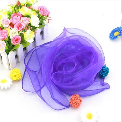 12pcs Women Hemmed Square Juggling Dance Gauze Scarves Candy Colors 6a