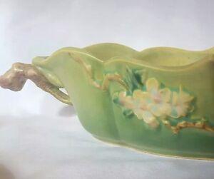 Roseville Green Apple Blossom Console Bowl Vintage 331-12 *Read Descr