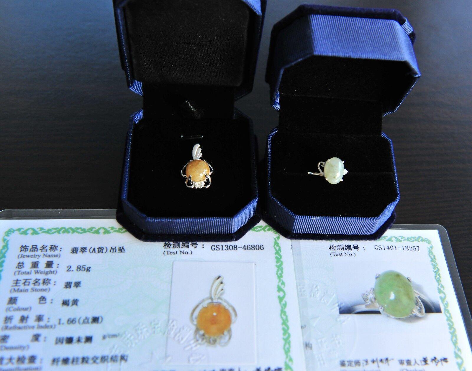 Lot 2 Certified Grade A Jadeite Jade Ring Size 7.75 Yellow Jadeite Pendant