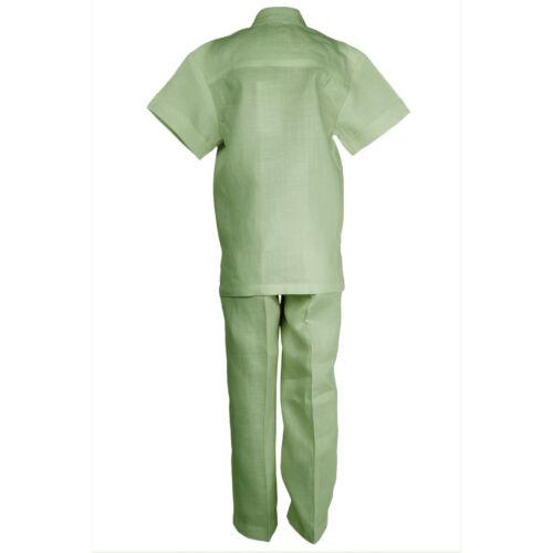 Infant Sage 100/% Linen Set Guayabera Shirt with Pockets /& Pants Sizes 12M to 24M