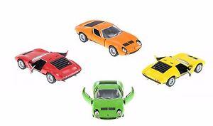 4 PC SET New Kinsmart 1971 Lamborghini Miura P400 SV Diecast Model Toy Car 1:34