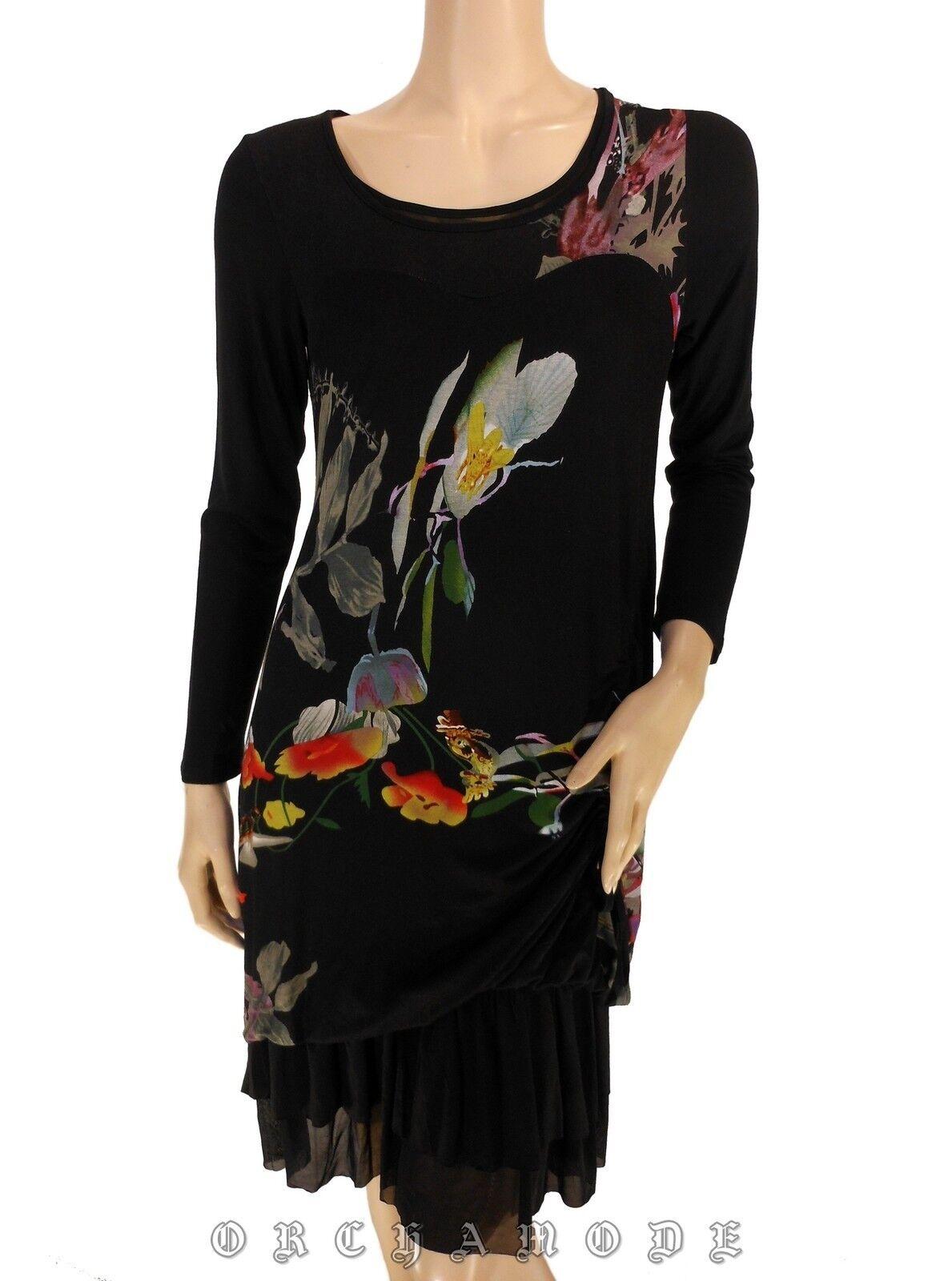 Robe ELLEA T 38 M 2 schwarz Floral Volants Fluide Tunique NEUF Dress Kleid Abido