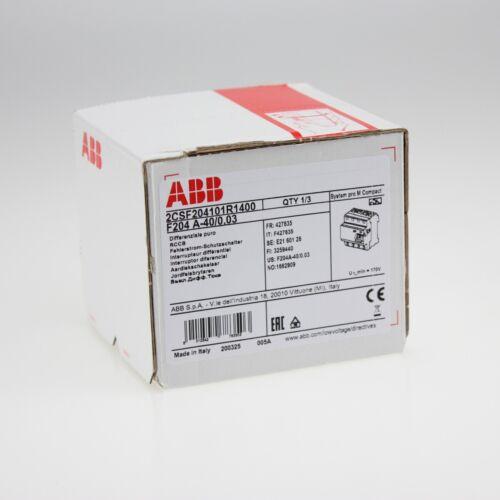 ABB F204A-40//0,03 FI-Schutzschalter 4P,Typ A,40A,30mA