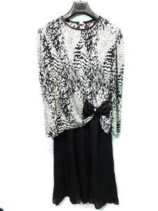 Vintage-80s-Lisa-Michaels-16-XL-Black-Silver-Tiger-Stripe-Party-Dress-Draped-Bow