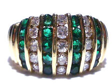 EFFY BH 14K YELLOW GOLD 1.00CT EMERALD .75CT DIAMOND COCKTAIL SHIELD DOME RING