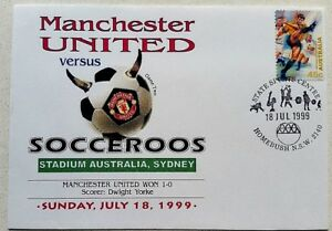 Manchester-United-VS-Socceroos-First-Day-Cover-18th-July-1999-SYDNEY-Australia