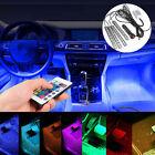 4x 9LED Remote Control Colorful RGB Car Interior Floor Atmosphere Light Strip