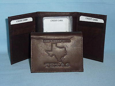 """Texas /""""DON/'T MESS WITH TEXAS/""""   Leather TriFold Wallet    NEW    dark brown 3"""