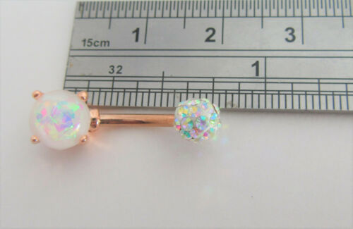 18k Plaqué or Rose Opale Blanc Aurora Borealis Crystal Ball VCH clito Capuche Bar gauge 14