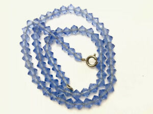 Vintage-Sapphire-Blue-Faceted-Crystal-Glass-Bead-Necklace-16-Long-GIFT-BOXED