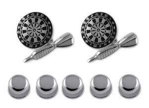 4464433847c6 Image is loading Sterling-Silver-Black-Enamel-Dart-amp-Dartboard-Cufflinks-