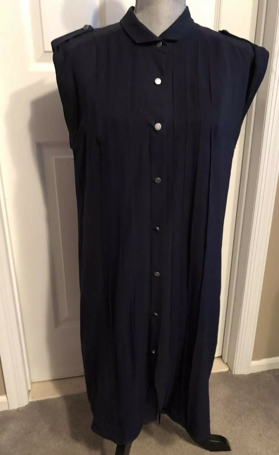 ADAM Lippes Dress 100% Silk Buttons Down Pleated SZ 10