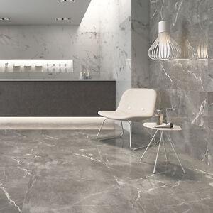 Image is loading Esparada-Grey-Marble-Effect-Matt-Porcelain-Floor-Tile-