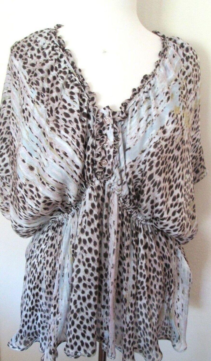 Just Cavalli Damen Tiermuster Kimono Ärmel Top Blause Größe 44