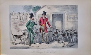 Fast Deliver 1854 ~hand Painted Fox Hunt Steel Engraving~handley Cross Or Mr Jorrocks's Hunt Invigorating Blood Circulation And Stopping Pains Art