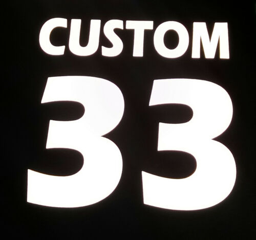 """Reflective safety Custom Jersey T-shirt Name /& Number Iron on Transfer  8/"""" x 8/"""""""