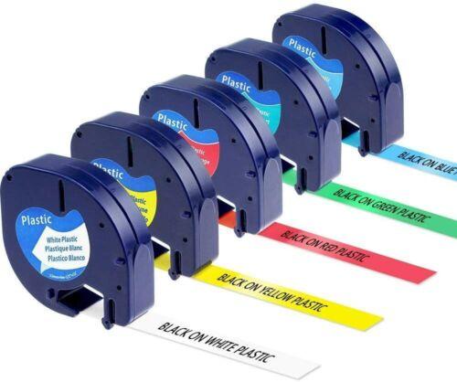 5PK Compatible Dymo LetraTag Refills 91331 91332 Plastic LT-100H 12mm Label Tape