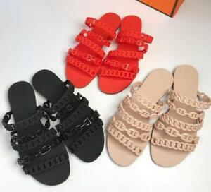 e0062608df0 Image is loading Womens-Chain-Flat-Jelly-Slipper-Beach-Sandals-Slipper-