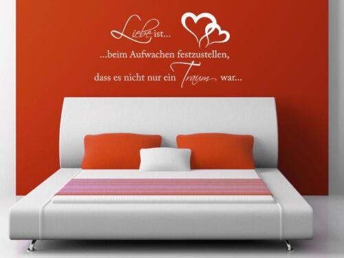 """XXL aufkleber /""""LIEBE ist.../"""" Traum Träume Herz Wandtattoo S226 Exkl"""
