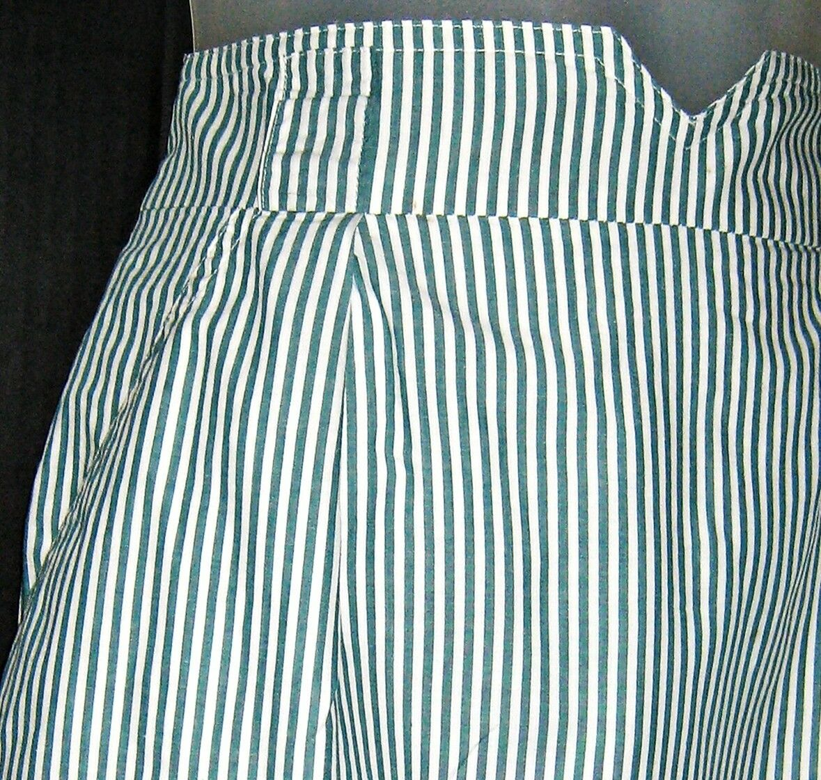 Evan Picone Women Skirt Green greenical Stripe Pencil Straight Lined Cotton Sz 12