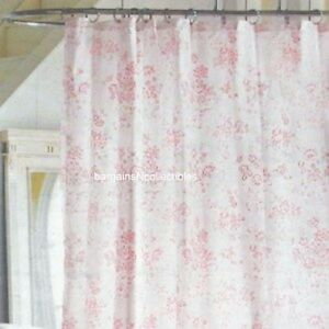 New Htf Simply Shabby Chic Vintage Pink Floral Rose Toile Fabric Shower Curtain Ebay