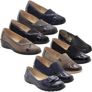 Womens-Slip-on-Shoes-Comfort-Shoe-Mid-Wedge-Heel-Smart-Ladies-Brogues-Work-Pumps