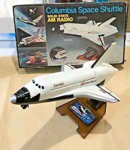 ANTIQUE-COLUMBIA-SPACE-SHUTTLE-TRANSISTOR-RADIO-WORKS-HONG-KONG-BOXED-EXC