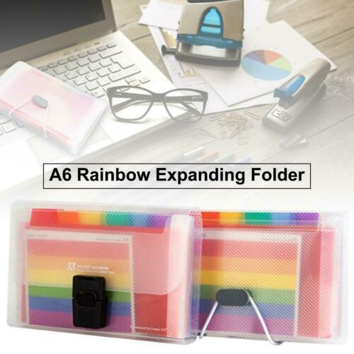 A6 Mini Expanding File Folder 13 Pockets Portable Rainbow Document Accordion