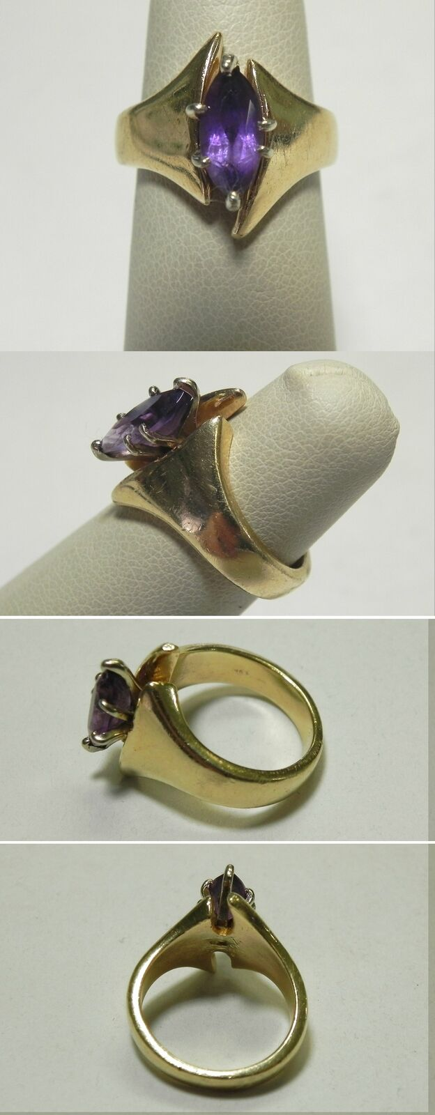 C866 Vintage 14K Solid Yellow gold Marquise Cut Amethyst Open Bypass Ring, Sz 5