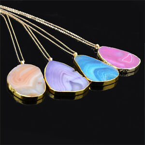Magic-Agate-Druzy-Emperor-Quartz-stone-Natural-Gold-Pendant-Necklace-Jewelry-R