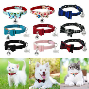 Bowknot-Small-Dog-Puppy-Pet-Cat-Soft-Padded-Collar-amp-Engraved-Tag-Personalized