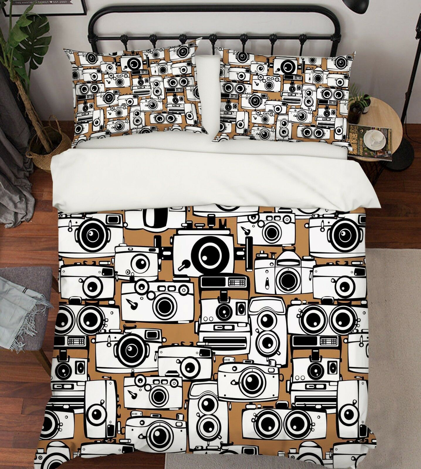 3D Cartoon Kamera 66 Bed Pillowcases Quilt Duvet Cover Set Single King UK Summer
