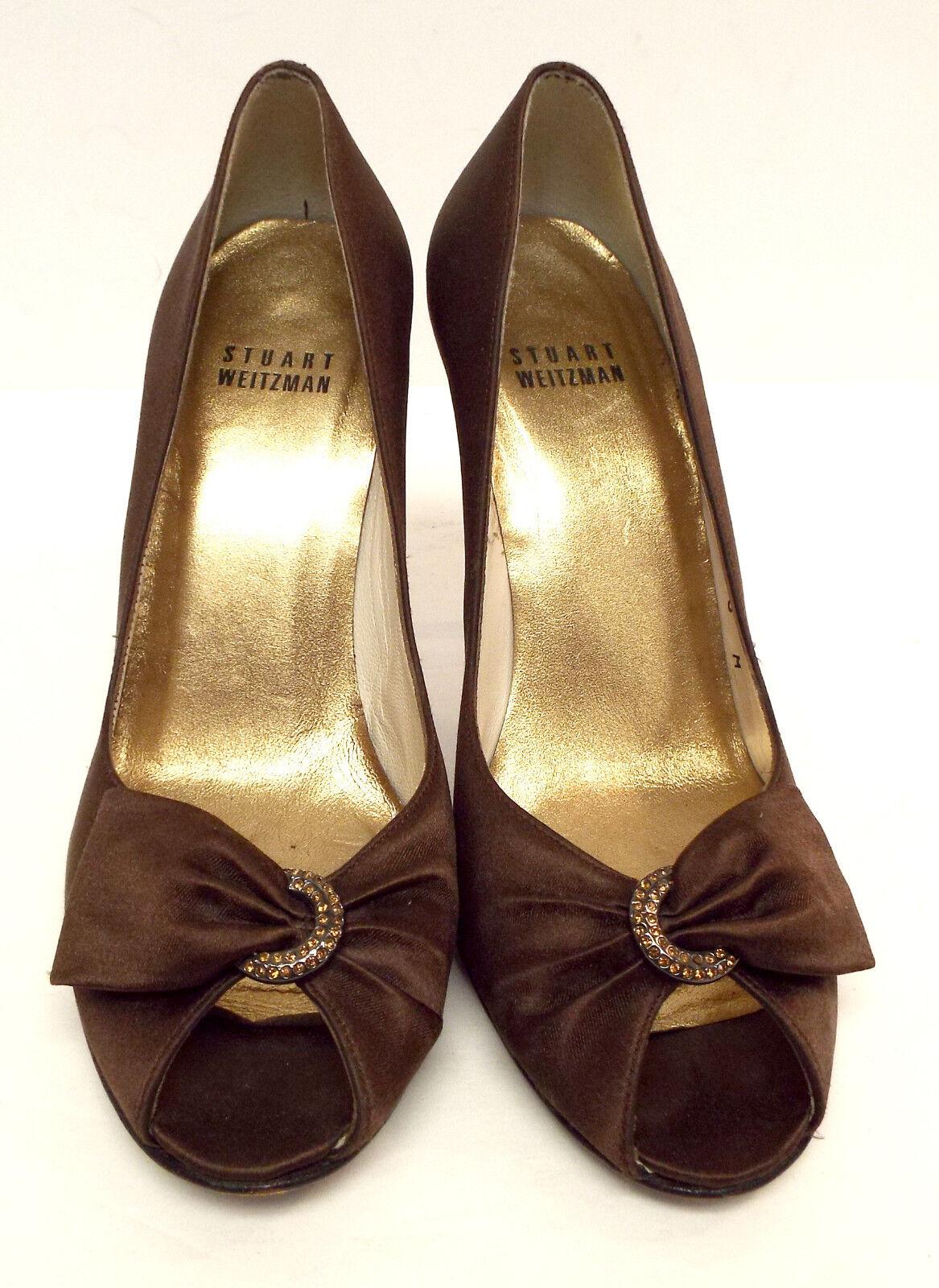 STUART WEITZMAN Größe 6 Braun Bronze Satin Peep Peep Satin Toe Evening Heels Pumps Schuhes 817840