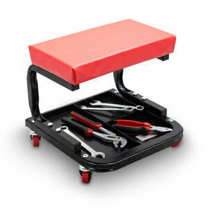 werkstatthocker rollhocker werkstatt montagehocker rot mit rollen und ablagen ebay. Black Bedroom Furniture Sets. Home Design Ideas