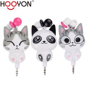 Cute-Cartoon-Cat-Panda-3-5mm-Retractable-Headset-MP3-MP4-Earphones-Earbuds-Gifts
