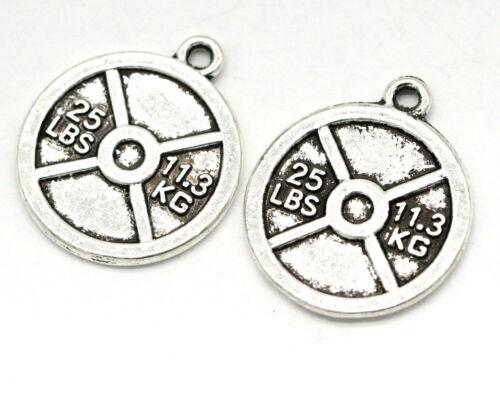 Tibetan Silver Charms Pendentif Barbell Pièce Pour Collier Bijoux 10pcs